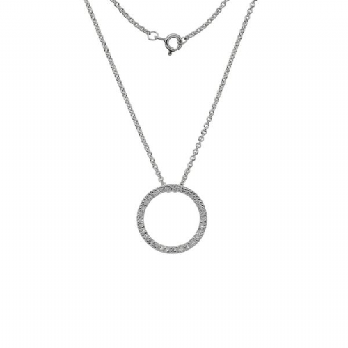 Silver Circle Sparkle Necklace